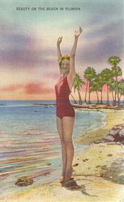 """Beauty On the Beach in Florida"" Linen Postcard"