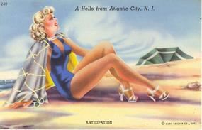 """A Hello From Atlantic City, N.J."" Linen Postcard"