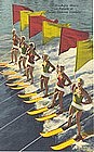 """Aqua Skiers On Parade"" Linen Postcard, Curt Teich"