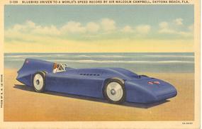 """""""Bluebird Driven to Speed Record"""" Linen Postcard"""