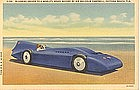 """Bluebird Driven to Speed Record"" Linen Postcard"