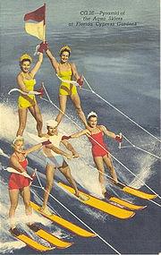 """Pyramid of the Aqua Skiers"" Linen Postcard, Curt Teich"