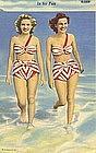 """In for Fun"" Vintage Linen Postcard, Curt Teich"
