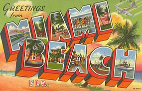 """Greetings from Miami Beach"" Linen Postcard, Curt Teich"