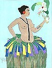 Paul Jacoulet, Yap Beauty With Orchid 1934