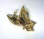 Vintage 14k Gold Butterfly Trembler  with Diamonds