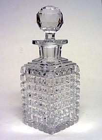 Vintage Crystal Decanter Square Block Pattern