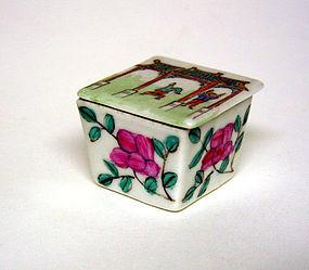 Vintage Chinese Export Porcelain Covered Salt  Cellar