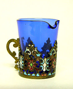 Miniature Cobalt Blue Pitcher with Enamel Holder