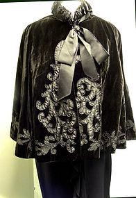 Antique Victorian Black Velvet Cape