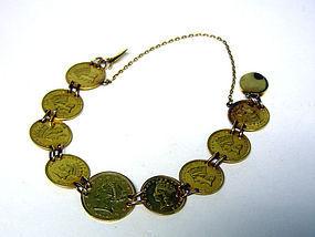 Antique American Gold Coin Bracelet