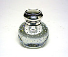 Antique Sterling Silver Top Crystal Inkwell