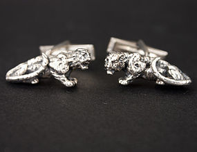 Vintage Sterling Silver Tiger Cuff Links