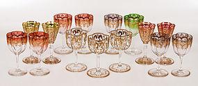 15 Antique Moser Gilt Enamel Crystal Cordial Glasses