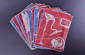 Set of 12 Art Deco Cocktail Napkins with Bird Motif