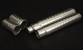 Vintage English Sheffield Pewter Cigar Holder with Hidden Flask