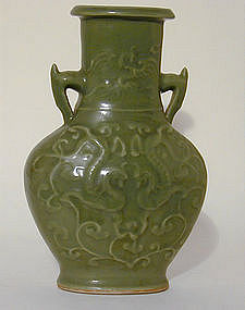 A Chinese Celedon Vase With Handles,  Song