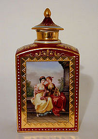 A Vienna Ruby-Ground Tea Cannister