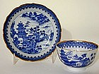 Chinese Export Canton Teabowl and  Saucer