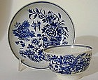 Worcester Blue and White Teabowl and  Saucer