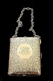 Victorian Sterling Silver Purse with Chain, C1880