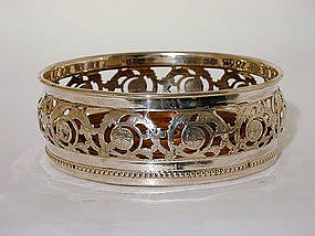 English Silverplate Wine Coaster, 19th Century