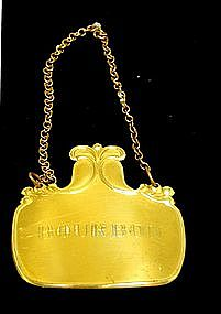 Sterling Silver and Gilt Bourbon Decanter Tag, 1940