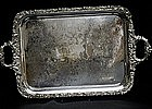 19th C Large Silverplate Waiter Tray