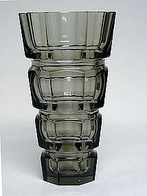 Vintage Art Deco Style Czech Smoked Glass  Vase