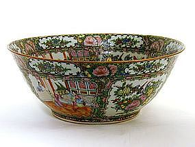 Chinese Rose Medallion Porcelain Punch  bowl