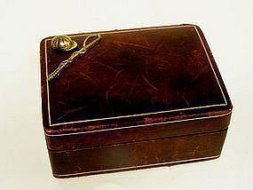 Vintage Men's Leather Cufflink Box With Horse Racing  Theme