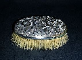 Antique Silverplate Repousse Clothes Brush