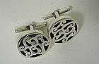 Vintage Sterling Silver Toggle Back  cuff Links