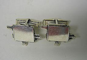 Vintage Silver Movie Camera Form  cufflinks