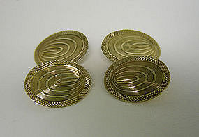 Victorian 10k Gold Two-sided Cuff Links