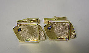 Vintage 14k Gold And Sapphire Toggle Back 