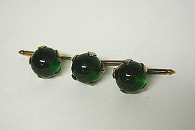 Art Deco Green Crystal Stud Set