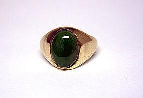 Vintage 14k Gold And Jade Men's Ring