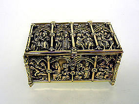Grand Tour Bronze Casket, Ca.1875
