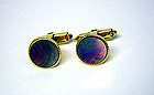 Vintage  Gold Tone Abalone Toggle Back 
