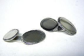 Vintage Danish Two-Sided Silver  Cufflinks