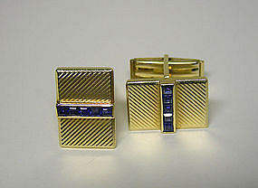 Vintage Tiffany Gold And Sapphire  cufflinks