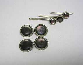 Vintage Abalone And Silver Cufflinks And 