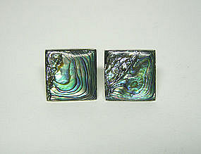 Art Deco Taxco Abalone And Silver  cufflinks