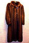 Vintage Military Style Raccoon Fur Coat