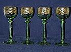 Four Bohemian Wine Goblets By Graff Harrach