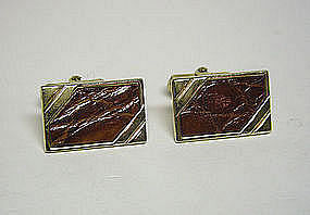 Vintage Gold Tone And Croc Toggle Back  cuff Links