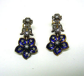 A Pair Of Gold, Enamel And Diamond  earrings, 18th C