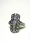 Art Deco 18k White Gold And Diamond 