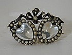 A Moonstone And Pearl Mourning Brooch